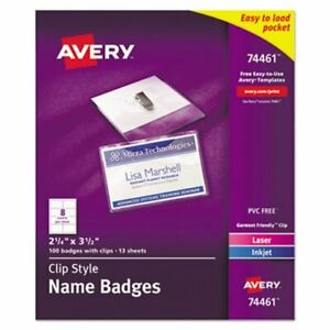 Avery Clip style Name Badge Holders With Inserts 100 Badges ave74461