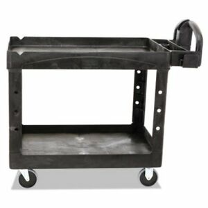 Rubbermaid Heavy Duty Medium 2 shelf Utility Cart Black rcp452088bk