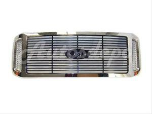 For 2005 2007 Ford Super Duty Grille Chrome Frame With Black Billet Insert