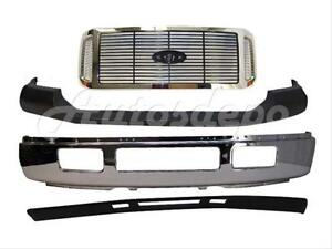 For 2005 2007 Super Duty F250 F350 Front Bumper Chrome Up Pad Grille Valance