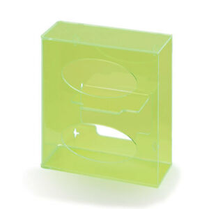 Fluorescent Side loading Acrylic Glove Dispenser Double Fluorescent Green 1 Ea