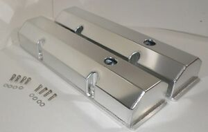 Small Block Chevy 350 Tall Fabricated Anodized Aluminum Valve Covers Bolts Sbc