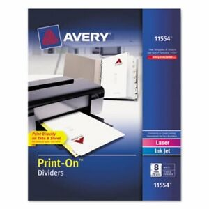 Avery Print on Dividers 8 tab 3 hole Punched White 25 Sets box ave11554