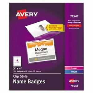 Avery Clip style Name Badges With Inserts 3 X 4 100 Badges ave74541