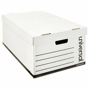 Lift off Lid File Storage Box Legal Fiberboard White 12 carton unv95221