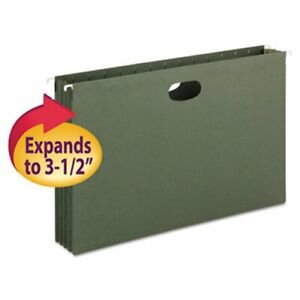 Smead 3 1 2 Hanging File Pockets With Sides Green 10 Per Box smd64320