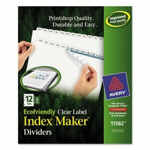 Avery Recycled Index Maker Dividers 12 tab 11 X 8 1 2 5 Sets pack ave11582