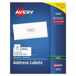 Avery Self adhesive Address Labels For Copiers 2 400 Labels Per Box ave5363