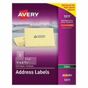 Avery Self adhesive Mailing Labels For Copiers Clear 2310 Per Pack ave5311