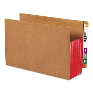 Smead 5 1 4 Expanding File Folder Legal Brown red 10 Folders smd74696
