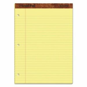 Tops Perforated Legal Pad Punched Letter Canary 12 Pads Per Pack top75351
