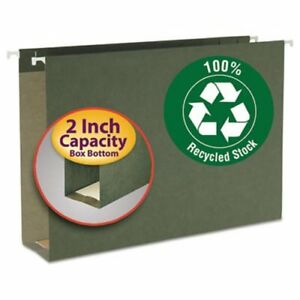 Smead 2 Capacity Box Bottom Hanging Folders Legal Green 25 box smd65095