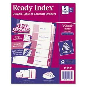 Avery Ready Index Table contents Dividers 5 tab Assorted 24 Sets ave11167