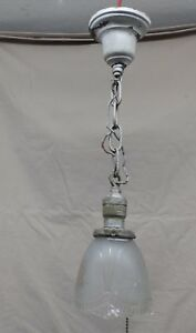 Antique Brass Hanging Pendant Ceiling Light Fixture Old Glass Shade Vtg 4074 15