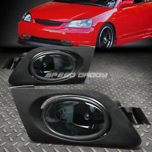 For 01 03 Honda Civic 2 4dr Smoked Lens Bumper Driving Fog Light Lamps W Switch
