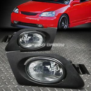 For Honda Civic 01 03 2 4dr Oe Bumper Clear Fog Light Lamp Kit With Switch Wire