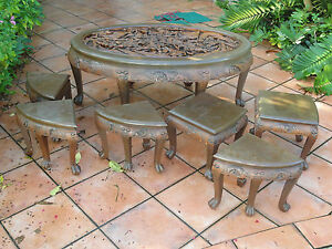 Vintage 50s Majestic Co Chinese Openwork Carved Rosewood Table Stool