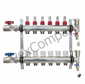 6 Loop port Stainless Steel Pex Manifold Radiant Heating