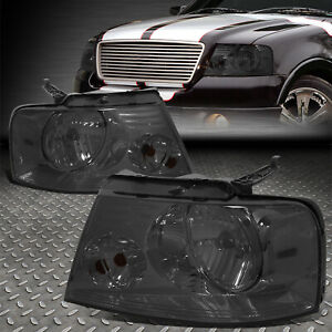 For 04 08 Ford F150 Lincoln Mark Lt Smoked Housing Clear Corner Headlight Lamps