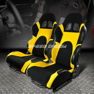 X2 Full Reclinable Yellow black Cloth Racing Seat seats adjustable Slider Rails