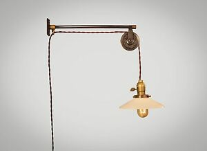 Vintage Industrial Pulley Sconce Opal Glass Lamp Shade Wall Mount Light