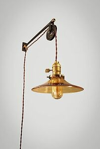Vintage Industrial Pulley Sconce Amber Glass Lamp Shade Wall Mount Light