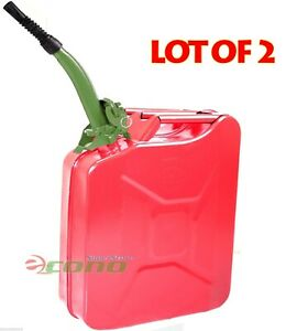 Lot Two Red 5 Gallon Jerry Can Gas Fuel Steel Tank Military Style W green Spout