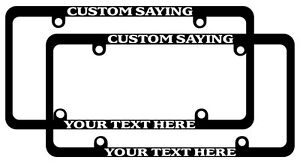 Skinny Black License Plate Frame Custom Text Auto Accessory Personalize 2 Pack