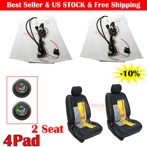 4pcs Set Car Carbon Fiber Round Switch Kit Cushion Warmer Universal Heated Seat