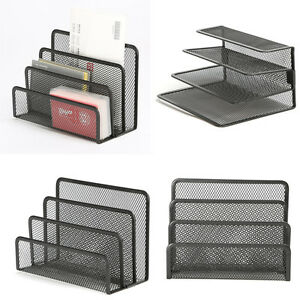 3 Section Desktop Office Tray Sorter Desk Mesh Holder Documents File Letter