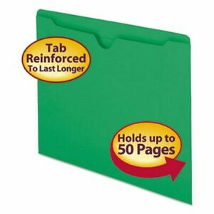 Smead File Jackets Two ply Tab Letter 11 Point Green 100 Per Box smd75503
