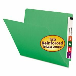 Smead File Folders Straight End Tab Letter Green 100 Per Box smd25110