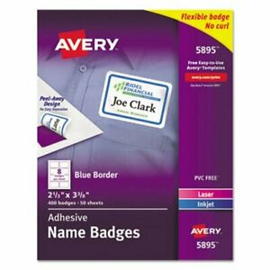 Avery Self adhesive Name Badge Labels Blue Border 400 Labels ave5895