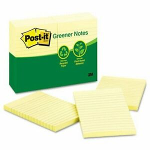 Post it Greener Notes 4 X 6 Yellow 12 100 Sheet Pads pack mmm660rpyw