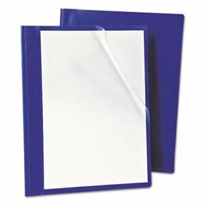 Oxford Report Cover Prong Clip 1 2 Capacity Clear blue 25 box oxf52702