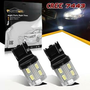 2pc 7440 7443 T20 992 High Power 6000k White Led Daytime Running Light Bulbs Drl