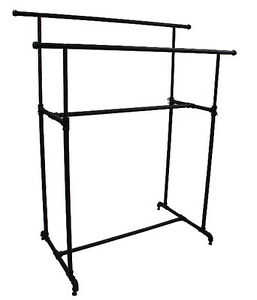 Garment Clothes Display Double Rack Retail Industrial Fixture 48 Wide Black New