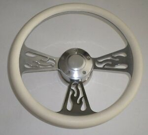 14 White Half Wrap Flame Billet Aluminum Steering Wheel Adaptor Horn Button