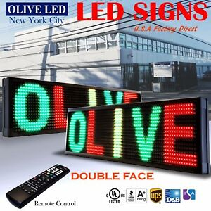 Olive Led Sign 3c Rgy 2face 12 x31 Ir Programmable Scroll Message Display Emc