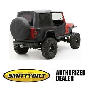 Smittybilt Replacement Soft Top W Half Door Skins 87 95 Jeep Wrangler Yj Black