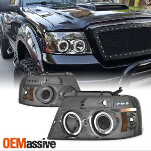 Fits 2004 2008 Ford F150 Smoked Dual Halo Led Projector Headlights Left right