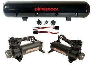 Airmaxxx 480 Dual Black Compressors 5 Gallon Tank Air Bag Suspension 200psi Kit