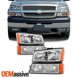 Fit 2003 2006 Chevy Silverado 2003 06 Avalanche Headlights Bumper Signal Lights