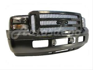 For 05 07 Ford F Super Duty F250 F350 Harley Front Bumper Pad Txt Grille Blk 8pc