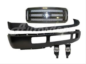 For 2005 2007 Super Duty F250 F350 Front Bumper Pad Txt Grille Blk Fog Light 5pc