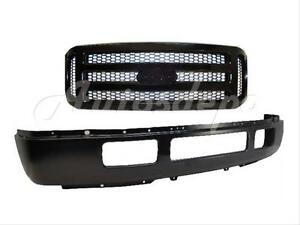 For 2005 07 Ford Super Duty F250 F350 Front Bumper Bar Blk Grille Blk Honeycomb