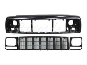 For 97 01 Jeep Cherokee Se Sport Header Panel Grille Headlight Door Bezel 4pc