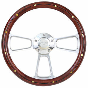 1955 To 1956 Chevy Bel Air Nomad Real Wood Steering Wheel W Full Billet Kit