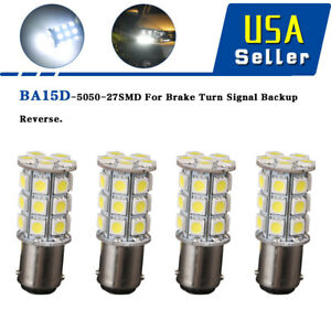 10pcs White 1156 Ba15s Drl Tail Brake Daytime Running Led Light Bulbs 6000k