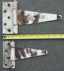 2 Vintage Barn Door Hinges Rusty White Antique Salvage Hardware Ranch Farm